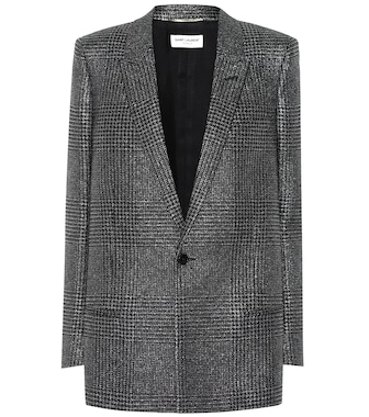 Saint Laurent - Metallic checked blazer - mytheresa.com