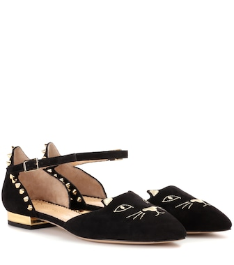 Charlotte Olympia - Mid-Century Kitty studded embroidered suede flats - mytheresa.com