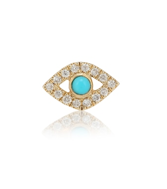 Sydney Evan - Small Evil Eye 14kt yellow gold, turquoise and diamond single earring - mytheresa.com