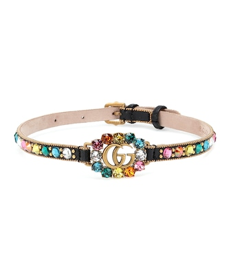 Gucci - GG embellished leather choker - mytheresa.com