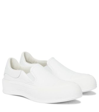 Alexander McQueen - Deck Plimsoll leather sneakers - mytheresa.com