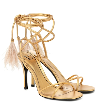 Valentino / Garavani - Valentino Garavani Upflair feather-trimmed leather sandals - mytheresa.com