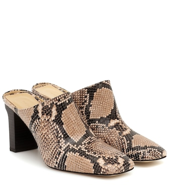 Aeydē - Edith snake-effect leather mules - mytheresa.com