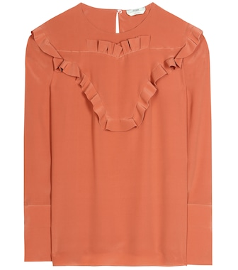 Fendi - Ruffled silk blouse - mytheresa.com