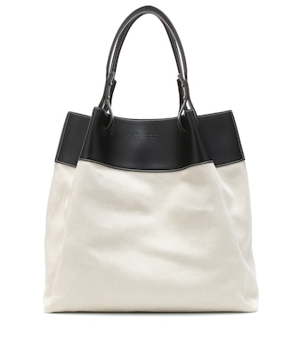 Bottega Veneta - Quad leather-trimmed linen tote - mytheresa.com