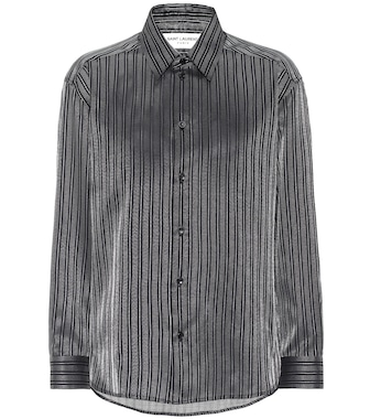 Saint Laurent - Striped cotton-blend lamé shirt - mytheresa.com