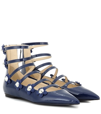 Fendi - Embellished patent leather sandals - mytheresa.com