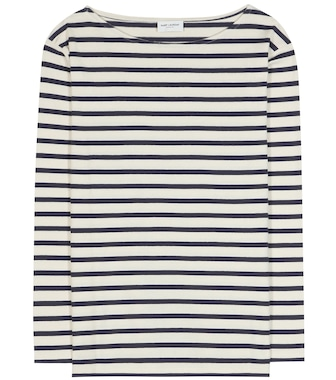 Saint Laurent - Distressed striped cotton T-shirt - mytheresa.com