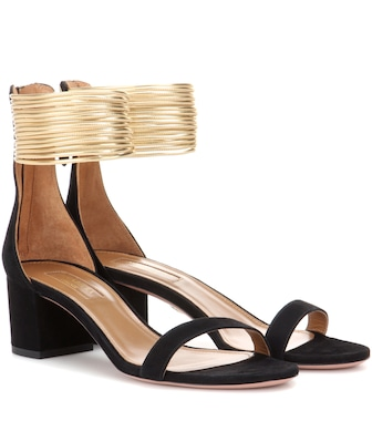 Aquazzura - Spin Me Around 50 suede sandals - mytheresa.com
