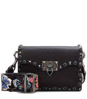 Valentino - Valentino Garavani Rockstud Rolling Noir leather shoulder bag - mytheresa.com