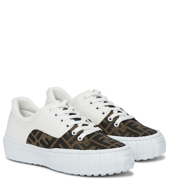 Fendi - Fendi Force leather and canvas sneakers - mytheresa.com