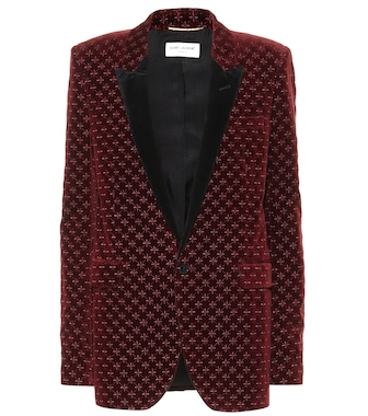 Saint Laurent - Star-embroidered velvet blazer - mytheresa.com