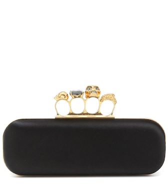 Alexander McQueen - Four-Ring satin clutch - mytheresa.com