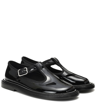Burberry - Alannis patent leather Mary Jane flats - mytheresa.com