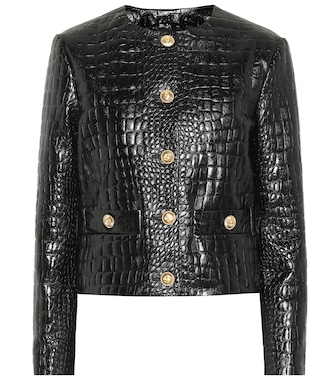 Gucci - Embossed leather jacket - mytheresa.com
