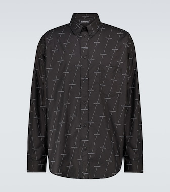 Balenciaga - Long-sleeved cotton shirt with logo - mytheresa.com