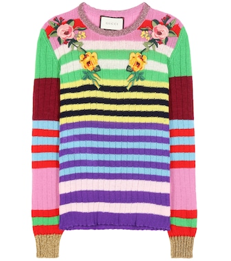 Gucci - Striped wool and cashmere sweater with embroidered appliqué - mytheresa.com