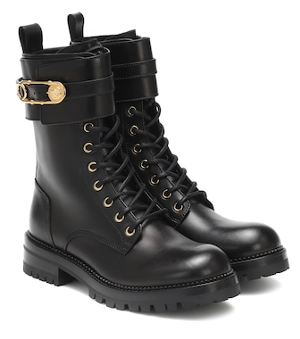 Versace - Safety Pin leather ankle boots - mytheresa.com