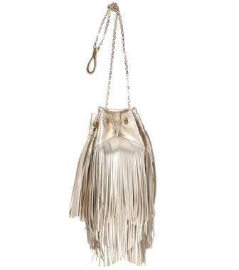Roger Vivier - Prismick fringed metallic leather bucket bag - mytheresa.com