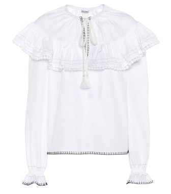 Miu Miu - Embroidered cotton blouse - mytheresa.com