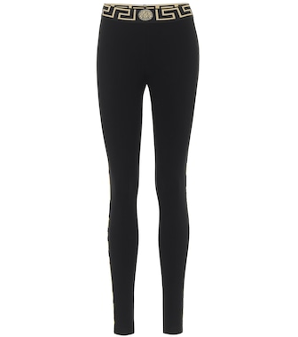 Versace - Printed stretch-cotton leggings - mytheresa.com