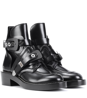 Balenciaga - Ceinture leather ankle boots - mytheresa.com