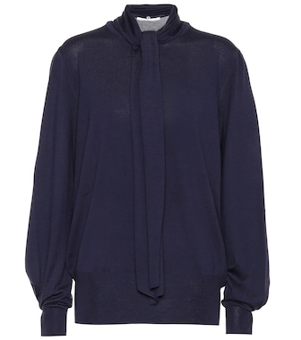Agnona - Wool tie-neck sweater - mytheresa.com