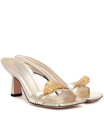 Gucci - Tiger Head metallic leather sandals - mytheresa.com