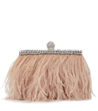 Jimmy Choo - Celeste feather-trimmed satin clutch - mytheresa.com