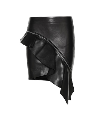 Saint Laurent - Asymmetric leather skirt - mytheresa.com