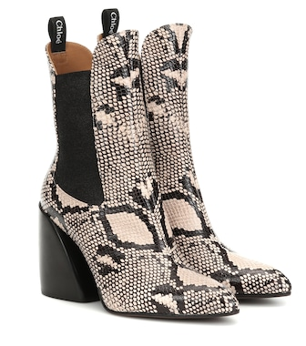 Chloé - Exclusive to Mytheresa – Wave snake-effect ankle boots - mytheresa.com