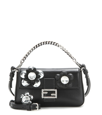 Fendi - Micro Baguette crystal-embellished leather shoulder bag - mytheresa.com