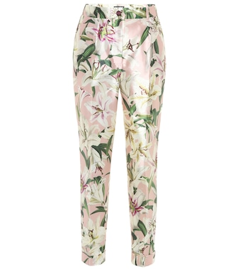 Dolce & Gabbana - Mid-rise cropped floral satin pants - mytheresa.com