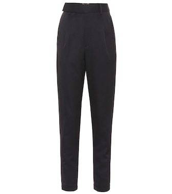 Saint Laurent - High-rise virgin wool twill pants - mytheresa.com