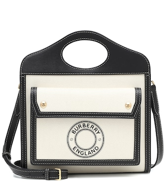 Burberry - Pocket Mini canvas and leather tote - mytheresa.com