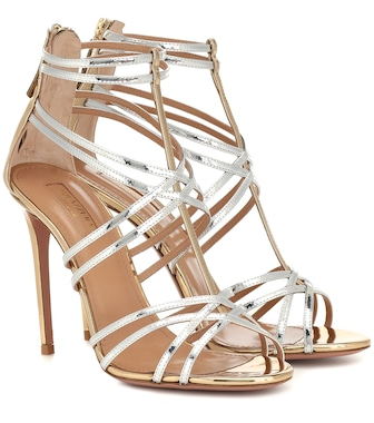 Aquazzura - Princess metallic leather sandals - mytheresa.com