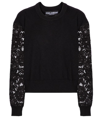 Dolce & Gabbana - Lace, cashmere and cotton sweater - mytheresa.com