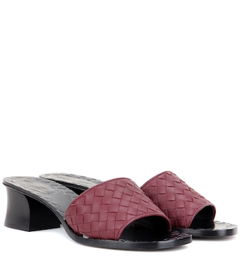 Bottega Veneta - Leather slip-on sandals - mytheresa.com