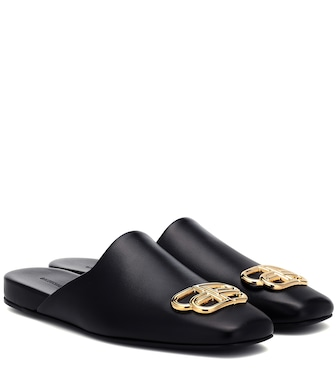 Balenciaga - BB Cosy leather mules - mytheresa.com