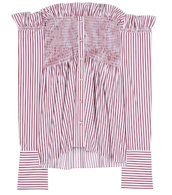 Victoria Victoria Beckham - Striped off-the-shoulder cotton top - mytheresa.com