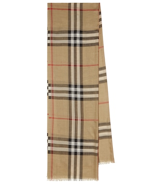 Burberry - Check wool and silk scarf - mytheresa.com