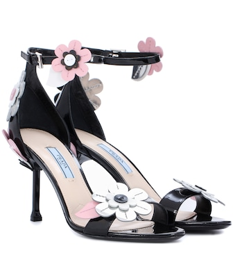Prada - Embellished patent leather sandals - mytheresa.com