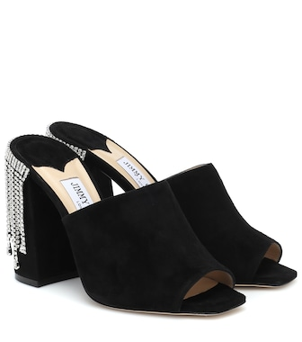 Jimmy Choo - Baia 100 embellished suede sandals - mytheresa.com