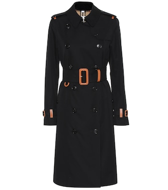 Burberry - Leather-trimmed cotton trench coat - mytheresa.com