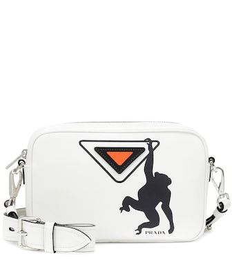 Prada - Printed leather shoulder bag - mytheresa.com