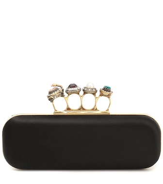 Alexander McQueen - Jeweled Four Ring silk box clutch - mytheresa.com
