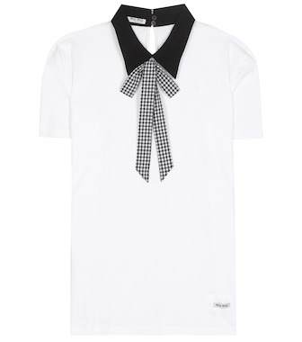 Miu Miu - Collared cotton T-shirt - mytheresa.com