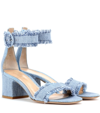 Gianvito Rossi - Portofino denim sandals - mytheresa.com