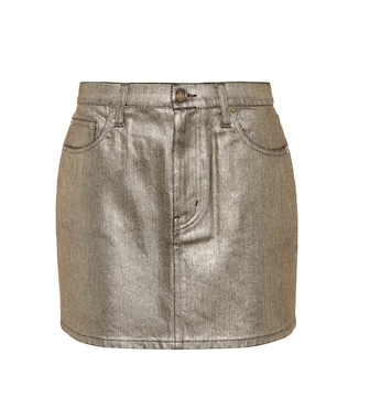 Saint Laurent - Coated denim miniskirt - mytheresa.com