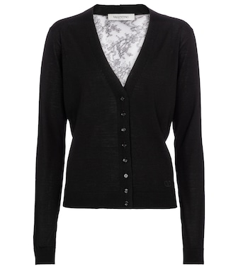 Valentino - Valentino lace-trimmed wool cardigan - mytheresa.com